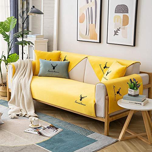 Homeen Wohnlandschaft Zweisitzer-Sofa Sofa überzüge,Couch Schutz,Thin Plush Couch Kissenbezüge,bestickter Sofawurf,Moderne nordische rutschfeste Sofaschutzabdeckung-Gelb_90 * 240 cm.