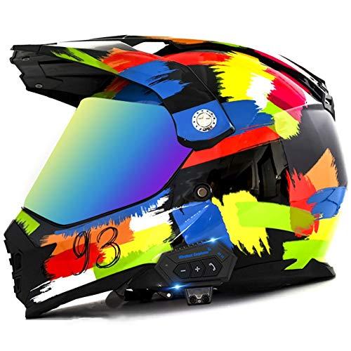 ZLYJ Casco De Motocross con Auricular Bluetooth Integrado, Casco De Motocross con Doble Visera, Casco De Campo Través Cascos De Carreras De Motos De Cross ATV Certificación ECE 1,S(55-56cm)