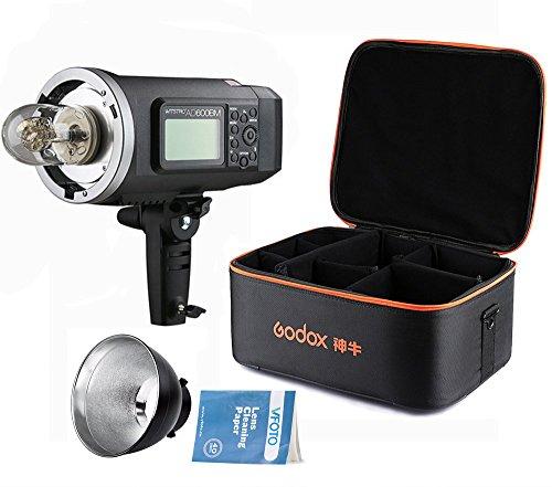 Godox Witstro AD600BM Bowens Mount Manual Versión al Aire Libre Flash + Godox Portátil Flash Bolsa de almacenamiento con Correa + Bowens Monte Reflector para Canon Nikon para Canon Nikon