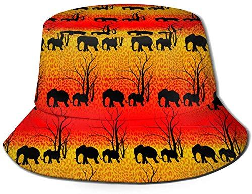 Unisex Hermoso Tropical con Estampado de flamencos y Flores Sombrero de Cubo de Viaje Gorra de Pescador de Verano Sombrero para el Sol Batik Tigre y Animales Lindos Elefantes