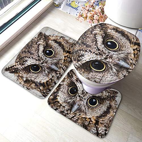 Bathroom Rugs Set 3 Piece,Owl Birds Printed Soft Absorbent Anti-Skid Pads Bath Mat + Contour + Toilet Lid Cover