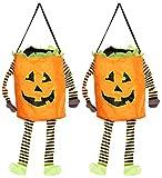 com-four 2X Halloween Bag - Bolsa desplegable para recolectar Dulces - Bolsa recolectora con Motivo de Calabaza para Halloween (2 Piezas - Cilindros de Calabaza)