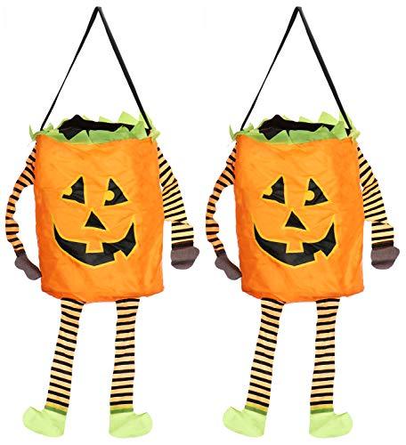 COM-FOUR® 2x Halloween tas - pop-up tas voor het verzamelen van snoepjes - verzamelzak met pompoenmotief voor Halloween (2 stuks - pop-up oranje)