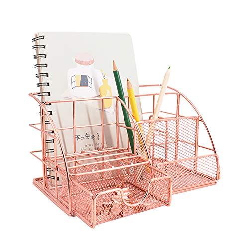 VANRA Office Supply Caddy Desktop Supplies Organizer School Supply Holder Metal Mesh Desk Storage Organizer with Drawer (Rose Gold)