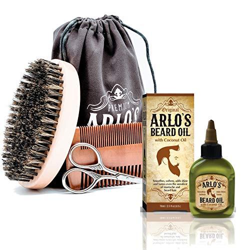 Arlo's 5-PC Mens Premium Beard Grooming Kit w/ Coconut Beard Oil 2.5oz Beard Oil, Beard Brush, Beard Comb, Beard Scissors & Carry Bag