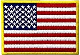 Amerikanische Flagge, bestickter Aufnäher, goldener Rand, USA, USA, Militäruniform, zum Aufbügeln
