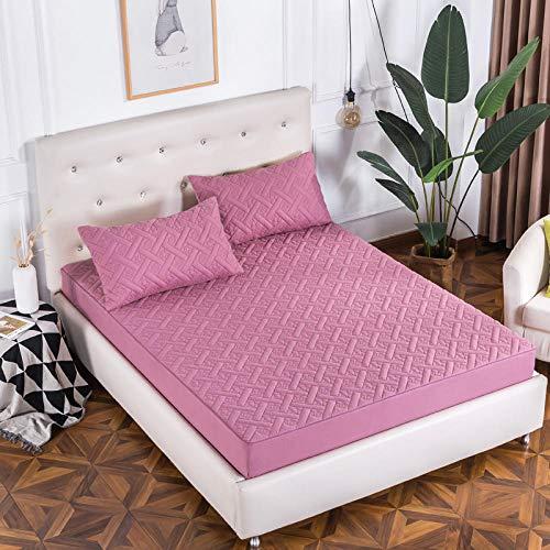 CYYyang Protector de colchón - cubrecolchón Transpirable Espesar sábana de Cama con Todo Incluido-Polvo de Cornel_1.5 * 2m