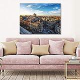 Tamengi Póster panorámico aéreo del edificio Metropolis en Madrid sobre lienzo, 60 x 80 cm, impresión artística de pared sin marco para sala de estar, dormitorio, oficina