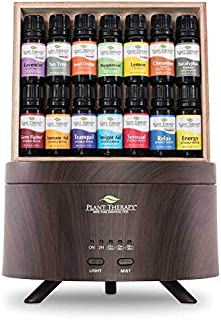 Plant Therapy 7 & 7 Wood Grain Aromafuse Diffuser Gift Set (7 Synergies & 7 Single Oils_