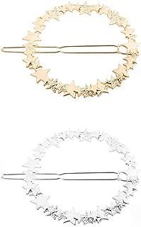 2 Pcs Fashion Simple Circle Hollow Hairpins Geometric Metal Star Bobby Pins Hair Clip Barrettes Women Hair Accessories