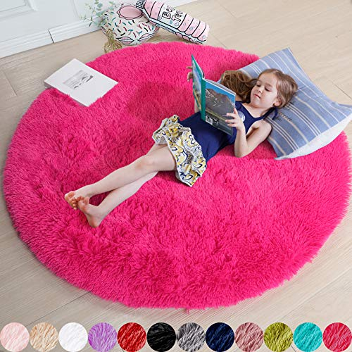 Hot Pink Round Rug for Bedroom,Fluffy Circle Rug 4'X4' for Kids Room,Furry Carpet for Teen Girls Room,Shaggy Throw Rug for Nursery Room,Fuzzy Plush Rug for Dorm,Pink Carpet,Cute Room Decor for Baby