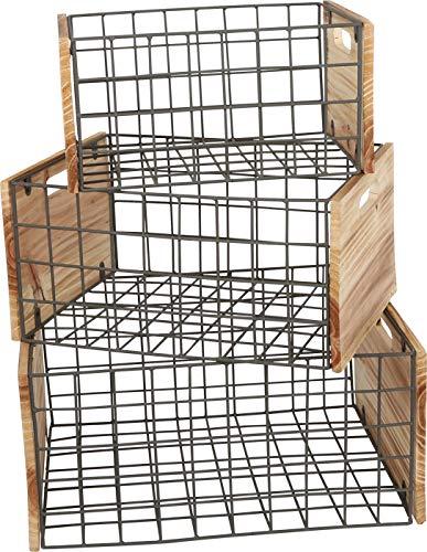 Cajas de madera con rejillas, juego de 3 en estilo industrial, para decoración y almacenamiento, varios tamaños, uso universal.