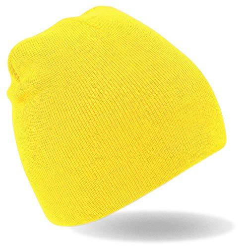 Hatstar Strickmütze Beanie Wintermütze Mütze gelb