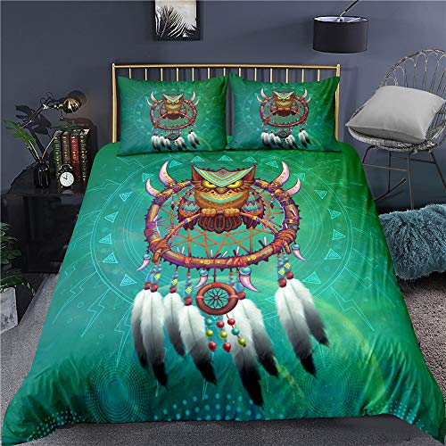 Jiaxiin Owl Standing On The Dream Catcher 3D Pattern 3pcs Bedding Duvet Cover Sets Soft and Breathable Quilt Cover with Zipper Cotton Pillowcase for Bedroom (EU-Single)
