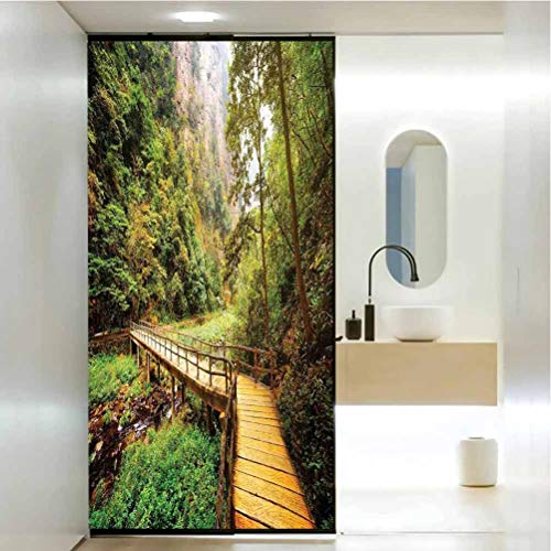 3D Static Cling Window Film Self Adhesive Glass Sticker, Apartment Decor Wooden Bridge Over Mountain River Among Trees and Rocks in The Zhangjiajie Forest Park, Bathroom Office Meeting Room Living Ro