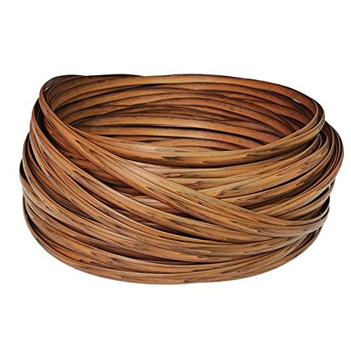 Feyart Striscia in rattan PE a grana di legno da 8 mm per la riparazione di mobili in vimini all'aperto, marrone, 500 g / 65 m