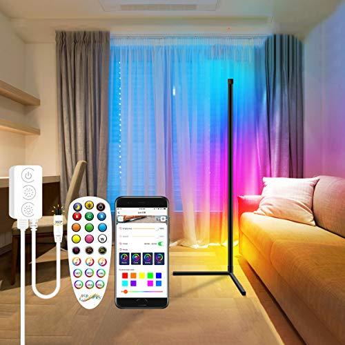 Elitlife LED Stehlampe Dimmbar mit Fernbedienung 20W Bluetooth Stehleuchte Mehrere Modi,Sync mit Musik Stehlampe Farbwechsel Lichtsaeule RGB für Wohnzimmer Schlafzimmer [Energieklasse A+]