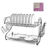 Ampiamente usato: è usato per organizzare ciotole, piatti, cucchiai, tazze, bastoncini da cucina, ecc. Il fondo con un vassoio rimovibile raccoglie l'acqua dallo scaffale, rendendo la vostra cucina asciutta, pulita e più organizzata.