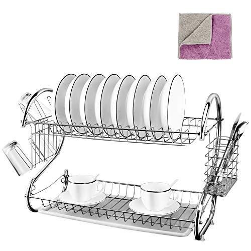 Geschirrabtropfgestell mit 2 Ebenen und Abtropfschale, für Töpfe, Schüsseln, Teller und Küchenutensilien, 1 x Reinigungstuch von Masthome
