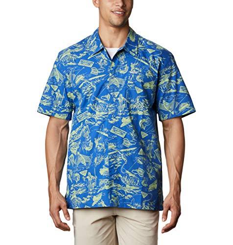 Columbia Short Sleeve Shirt Camiseta de Manga Corta Trollers Best, Hombre, Impresión de raíces de Agua Dulce de Color Azul Vivo, L
