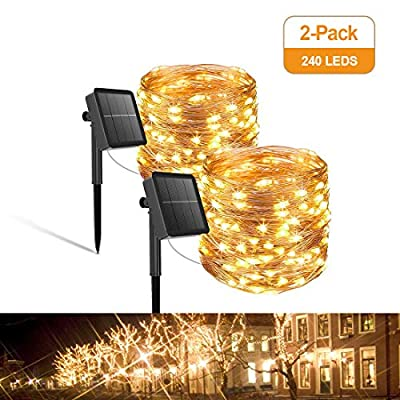 Solar String Lights,2 Pack-240 LEDs Upgraded Super Durable Solar Fairy Lights Waterproof Copper Wire with 8 Modes for Home Indoor Outdoor Garden Patio Yard Christmas Wedding Party Decor-Warm White