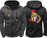 Funnyy Sudadera Unisex, La Camiseta de la Chaqueta de los Hombres - Ropa de Hockey Ottawa Senators Formación Primavera/Verano Cremallera Cardigan Prendas de Deporte - Los Adolescentes Regalo Gris-XL