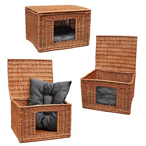 GalaDis 1-19-5 Katzenhaus (60 x 50 x 40 cm) inkl. 1 gepolstertes Kissen/Katzenhöhle/Katzenkorb/Katzenbett/Hundehütte für kleine Hunde/Katzen-Wurfbox/Wurfkiste