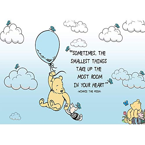 Classic Winnie The Pooh Backdrop Baby Shower 7x5 Light Blue Background Hot Air with White Clouds Backgrounds for 1st Birthday Butterfly Vinyl Backgrounds Party Decoration