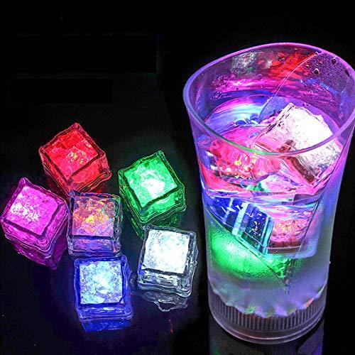 (12 Piezas) Cubitos de Hielo Colores, Luce Led Reutilizable Parpadea Hielo Auto Sensor de Líquido Fiesta Decoración
