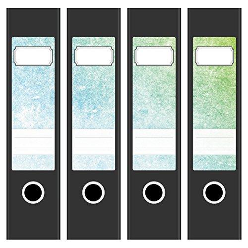 4 x Akten-Ordner Etiketten/Vintage Verlauf Used Look/Design Aufkleber/Rücken Sticker/für breite Ordner/selbstklebend / 6cm breit