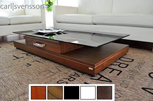 Design Couchtisch Tisch V-470 Nussbaum/Walnuss getöntes Glas Carl Svensson