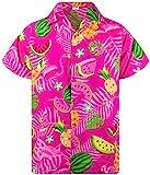 King Kameha Funky Hawaiihemd, Kurzarm, Flamingos Melonen, Pink, 3XL