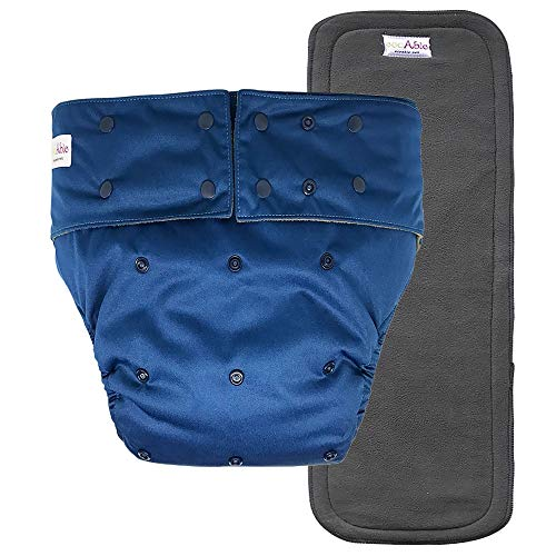 Reusable Adult Diapers for Women and Men – Teen Adult Special Needs Incontinence Cloth Diaper (Navy Blue)