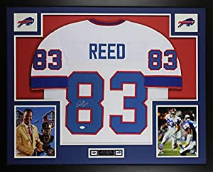 Andre Reed Autographed White Buffalo Bills Jersey - Beautifully Matted and Framed - Hand Signed By Andre Reed and Certified Authentic by JSA - Includes Certificate of Authenticity