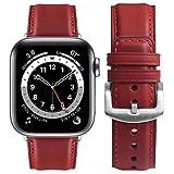 Fullmosa Cinturino Apple Watch 38mm/40mm/41mm, YOLA Cinturini in Pelle Compatibile con Apple Watch Serie 7 6 5 4 3 2 1, Apple Watch SE, Rosso