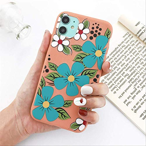 Silicone Flowers Phone Case For iPhone 11 Pro X XR XS Max 8 7 6 6s Plus 5 5s SE 2020 Floral Leaves Soft TPU Back Cover For iPhone 7 Plus O