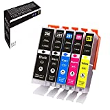 Aoou PGI-280 CLI-281 Compatible Ink Cartridges Replacement for PGI-280XXL CLI-281XXL to use with PIXMA TS9120 TS8120 TS8220 TR7520 TR8520 TS6120 TS6220 TS9521C Printers (5 Pack, PGBK/BK/C/M/Y)