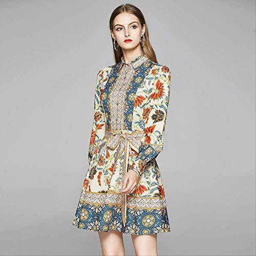 QUNLIANYI Coloré Imprimé Floral Robes Femmes Lanterne à Manches Longues Chemise Robe Femelle Noeud Papillon Slim Taille Robes Courtes M