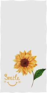 Pfrewn Smile Face Sunflower Hand Towels 16x30 in, Rustic Sunflowers Floral Thin Bathroom Towel, Ultra Soft Highly Absorbent Small Bath Towel Bathroom Decor