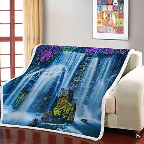 Manta Estampada Cascada de Flor Alpina Blanca Gris púrpura Terciopelo de Cristal Lateral A, Terciopelo de Lana Blanca Lado B (150 x 200 cm) para Sala de Estar, hogar,