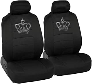 CarsCover King Crown Crystal Diamond Bling Rhinestone Black Car SUV Truck Low Back Seat Covers