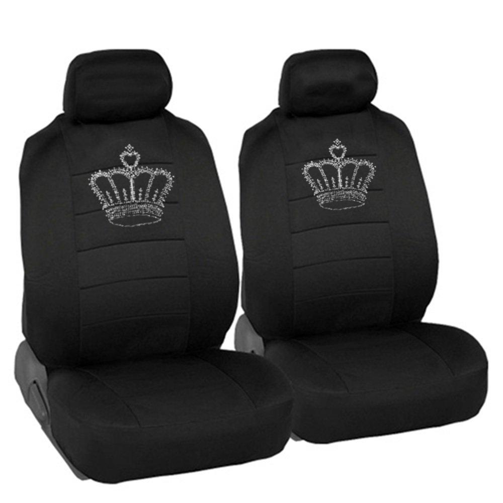 CarsCover King Crown Crystal Diamond Bling Rhinestone Studded Carpet Car SUV Truck Floor Mats 4 PCS