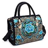 junengSO Bolso Bordado Floral para Mujer Bolso étnico con Cremallera Boho Canvas Shopping Tote