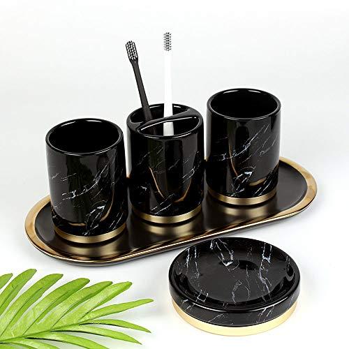 PATRICK Set de Accesorios de baño Baño Set de AccesoriosConjunto Accesorios baño Elegance Housewares Set de baño de - Dosificador de jabón,Vaso para cepillos de Dientes y jabonera - Negro