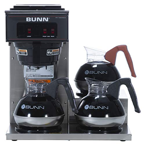 BUNN VP17-3, 12-Cup Low Profile Pourover Commercial Coffee Maker, 3 Lower Warmers, 13300.0003
