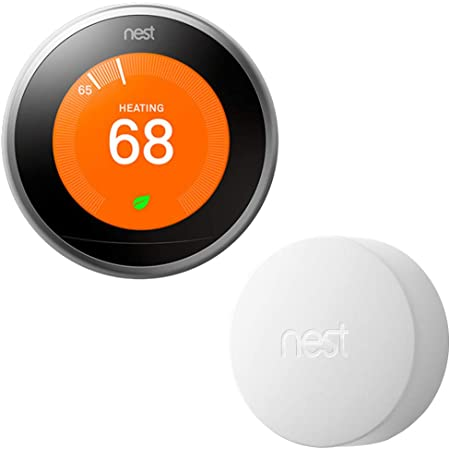 Google Nest Learning Thermostat (3rd Generation) with Nest Temperature Sensor (T5000SF) (Stainless Steel)