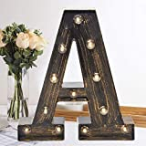 Oycbuzo Golden Black Led Marquee Letter – Industrial, Vintage Style Light Up Alphabet Letter Sign for Cafe Wedding Birthday Party Christmas Lamp Home Bar Initials Decor - A