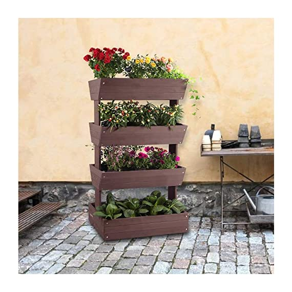 Aivituvin Vertical Raised Garden Bed With 4 Containers Elevated