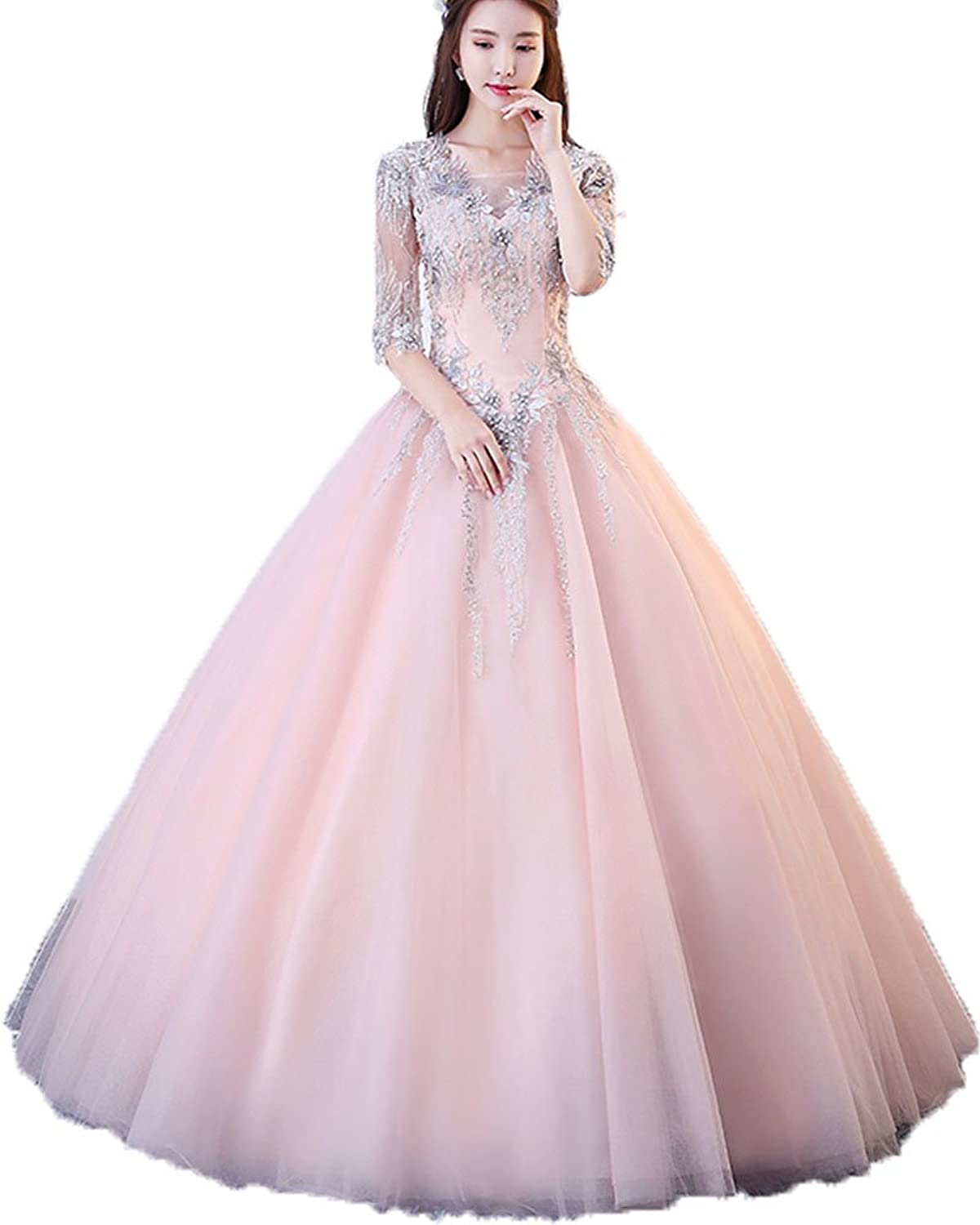 Onlybridal Women's Prom Dresses Quinceanera V Neck Half Sleeve Ball Gown Tulle Appliques Formal Evening Gowns
