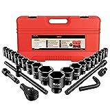 Anbull Juego de Llaves de Vaso de Impacto, 27 Vasos de Impacto, Profundo 3/4 de pulgada (21-50 mm) y 1 pulgada ( 50-65 mm)Profesionales, tamaños métricos ,6 Puntos Torque